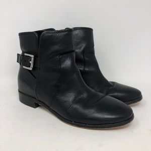 Michael Kors Black Leather Ankle Moto Boots 6.5